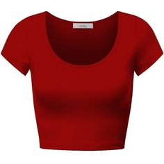 Simlu Womens Basic Short Cap Sleeve Cotton Round Crew Neck Short Crop... ($9.99) ❤ liked on Polyvore featuring tops, shirts, crop tops, cotton shirts, crop top, short tops, short shirts and red crop top