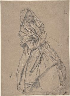 Study of a Seated Woman, 1702-1785  Pietro Longhi /   Black chalk stumped, highlighted with white chalk, on light brown paper