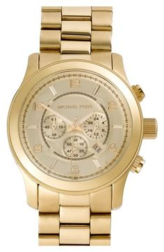 MICHAEL Michael Kors Michael Kors 'Large Runway' Gold Bracelet Watch, 46mm available at #Nordstrom