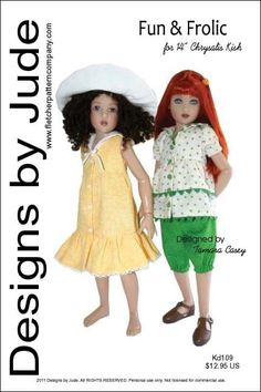 """Fun & Frolic Doll Clothes Sewing Pattern for 14"""" Kish  #DesignsbyJude"""
