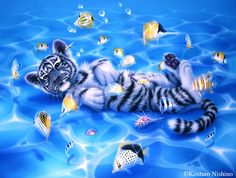 """Ocean Bed"" White Tiger  91.4 × 121.9cm, Acrylic on canvas, 2004, Yoneizumi Elementary School, Kanazawa Ciry Collection  Gallery Aquatic - Art of Kentaro Nishino"