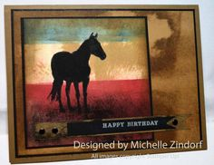 Patriotic Horse Stampin' Up! Card created by Michelle Zindorf Bday Cards, Birthday Cards For Men, Spellbinders Cards, Stampin Up Cards, Horse Cards, Western Theme, Kids Cards, Men's Cards, Animal Cards
