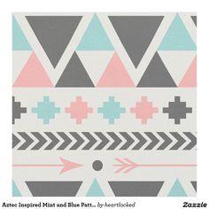 Menthe inspirée par Aztèque et motif bleu Tissu