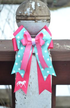 Horse Show Bows (2) - Bright Pink, Aqua Blue, trotting pony monogram Equestrian Hair Bows by OnTheBitBows on Etsy