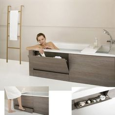 In addition to being ergonomic and comfortable, this bathtub also offers clever storage solutions, always useful in a bathroom. Under the bathtub, a retractable drawer step with non-slip ridges and self-locking casters facilitates access. Bath Panel Storage, Over Toilet Storage, Custom Bathroom Cabinets, Laundry Room Bathroom, Bathroom Design Luxury, Bathroom Design Small, Bad Inspiration, Bathroom Inspiration, Bathroom Inspo
