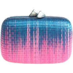 SERPUI MARIE Bruna Ombre Clutch (€175) ❤ liked on Polyvore featuring bags, handbags, clutches, purses, accessories, borse, blue clutches, blue handbags, ombre handbag und straw purses