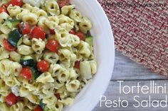 Great for picnics, BBQ's, potlucks, or an easy side dish for dinner, this Tortellini Pesto Salad Recipe is a nice change from your typical pasta salad.