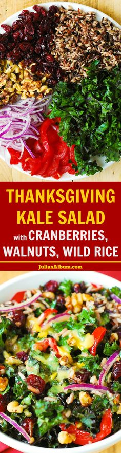 Healthy Thanksgiving Side Dish Recipe: Kale Salad with Cranberries, Walnuts, and Wild Rice. Gluten free, vegetarian, vegan! #BHG #sponsored