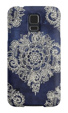 """Cream Floral Moroccan Pattern on Deep Indigo Ink"" Samsung Galaxy Cases & Skins by micklyn 