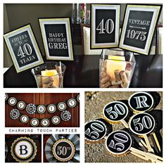 Items Similar To 40th Birthday Party Decor 3 Piece Black Gold And Grey Happy Decorations Fully Assembled Customizable On Etsy