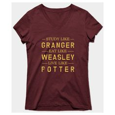 Harry Potter T-Shirt ($26) ❤ liked on Polyvore featuring tops, t-shirts, red tee, red t shirt and red top