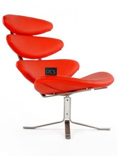Corona Style Chair with Ottoman in Red Italian Leather