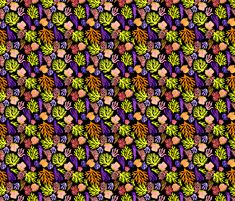 Black yellow corals mix small by pattern_house #pattern #design #love #flowers #floral #nature #surfacedesign #textiledesign #patterndesign