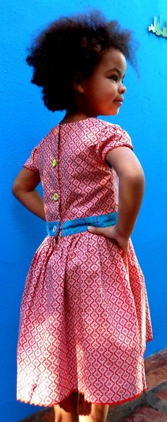 Red Shweshwe dress Hand Made in South Africa by MathildeAndCo