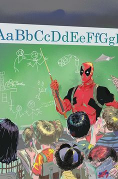Love that there's a kid reading Spider-Man and that the fact that Deadpool is creating the next generation of assassians!