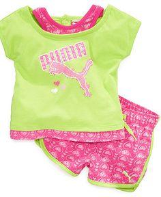 Puma Baby Set, Baby Girls Layered Top and Heart-Print Shorts  OMG... So cute.