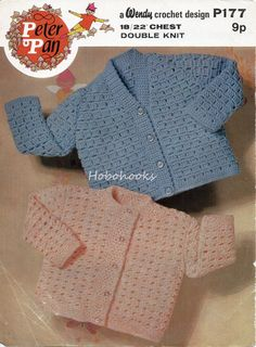 CROCHET baby cardigans in v or round neck  Blue 18-20 by Hobohooks