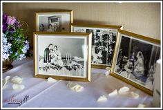 Display wedding photos in gold frames