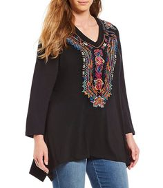 ab302918bb0dcd Calessa Plus Size Sharkbite Embroidered Tunic Embroidered Tunic, Plus Size  Tops, Plus Size Women