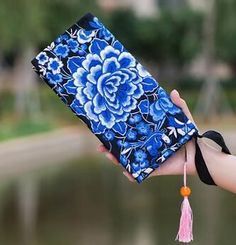 New National Ethnic Embroidery Wallet Double Side Embroidered Flower Coins Purse Bags Women's Small Handbag Clutch Bag