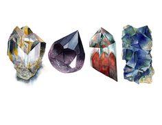 Watercolor Gems Art Print