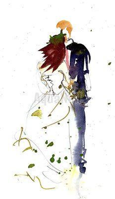 aquarelle sur le thme du mariage pour ide de faire part cadeau invits - Faire Part Mariage Etsy