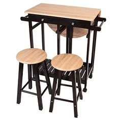 Giantex 3PCS Wood Kitchen Rolling Casters Fold Table Drop Leaf 2 Drawers With 2 Stools - http://centophobe.com/giantex-3pcs-wood-kitchen-rolling-casters-fold-table-drop-leaf-2-drawers-with-2-stools/ -