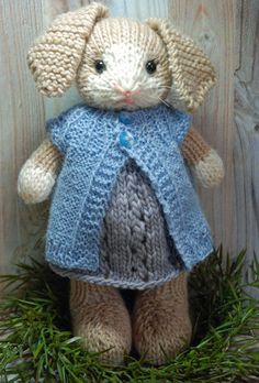 Sophie Knitted Bunny Rabbit toy in Springtime by AuntieShrews, Pattern by Fuzzymittens
