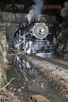 As a full moon lights up the Tennessee sky, the Southern 630 pulls through Missionary Ridge Tunnel.