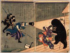 髪切りの奇談 / Strange story of Kamikiri by Utagawa Yoshifuji || The black yokai is Kamikiri (髪切), the hair-cutting spirit