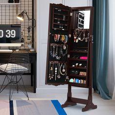 Amazoncom LANGRIA Free Standing Lockable Jewelry Cabinet Full