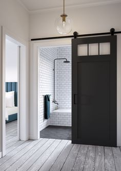 Jeff Lewis Design: Craftsman-style barn door.                                                                                                                                                                                 More