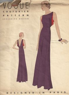 Vogue No. 204: Exclusive 1930's couturier design by Vogue. Part of the GaleGalen Vintage collection...unmistakable Parisian flair and flavor. [insert your photos of this pattern made up]