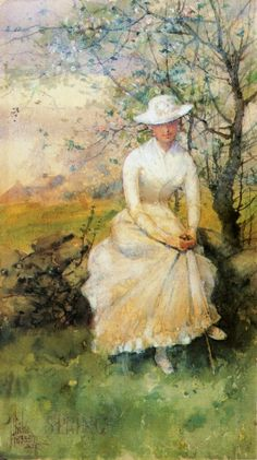 Spring, (aka: the Artist' s Sister,Frederick Childe Hassam 1859-1935,  Its About Time: Gardens from France to America: