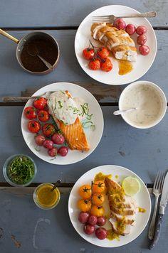 3 sauce recipes for chicken, pork or fish: Tahini-Yogurt, Maple-Mustard, and Citrus Mojo   Simple Bites #recipe #dinner #sauce