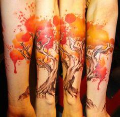 5 watercolor tree tattoo