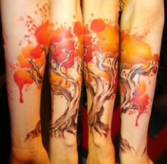 5 watercolor tree tattoo-Dont like the colors, but love the idea...
