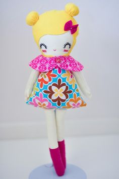 USe doll pattern, add socks and hair bow.