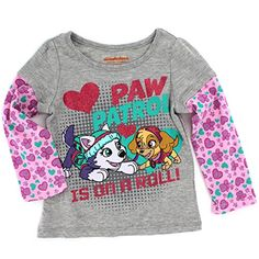 Paw Patrol Girls Long Sleeve Tee (Grey/Pink Skye & Everest) Nickelodeon #yankeetoybox #pawpatrol Marshall Chase Rubble Zuma Rocky Skye Everest Paw Patrol