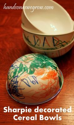 Sharpie Decorated Food Safe Dishes- An awesome grandparent gift!  1. Get some white dishes from the dollar store. 2. Decorate with sharpie 3. Bake in the oven at 350 degrees for 30 minutes.   (just remember to hand wash only!)