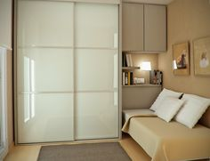 moderno dormitorio con ropero color beige
