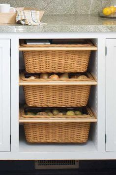 Savvy Ways To Store Food Kitchen Cabinet Storage Onion Storage Storage Basket Living Room St. Kitchen Cabinet Storage, Pantry Storage, Kitchen Pantry, Storage Cabinets, Kitchen Organization, New Kitchen, Storage Spaces, Storage Ideas, Creative Storage