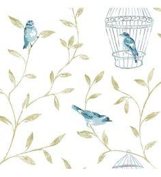 Papel pintado romantico con jaulas de pajaros turquesa y hojas - 40914