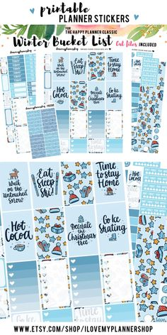 Winter bucketlist printable for The Happy Planner. Planner stickers for winter. December bucketlist. Things to do in the winter planner stickers. Includes free Silhouette files and glitter headers.