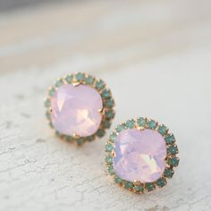 Pink opal and turquoise crystal Swarovski square by NotOneSparrow