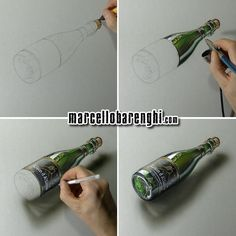 Marcello Barenghi: A bottle of beer Saison d'Alliance -  4 drawing stages by #marcellobarenghi  This drawing of a bottle of #beer took me 5 hours and 19 minutes. Check out the full drawing process in this youtube video https://youtu.be/7nn_K4Na_sM A #timelapse of the #drawing from beginning to end. Thanks for watching :)
