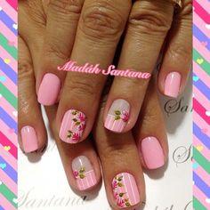 Photo from madahsantana Cute Nail Art, Beautiful Nail Art, Cute Nails, Pretty Nails, Fancy Nails, Pink Nails, Gel Nails, Dandelion Nail Art, Cherry Blossom Nails