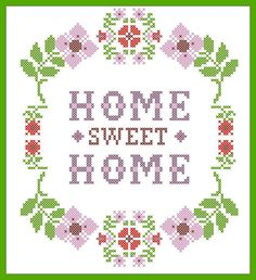 PDF -flower Home Sweet Home - cross stitch PDF Pattern - pdf pattern instant… Cross Stitch House, Cross Stitch Borders, Cross Stitch Alphabet, Cross Stitch Flowers, Cross Stitch Charts, Cross Stitch Designs, Cross Stitching, Cross Stitch Patterns, Learn Embroidery
