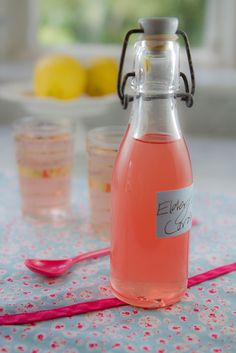 Home-made pink elderflower cordial