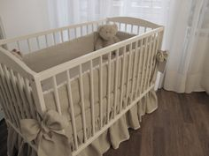 Linen Crib nursery bedding with linen bows